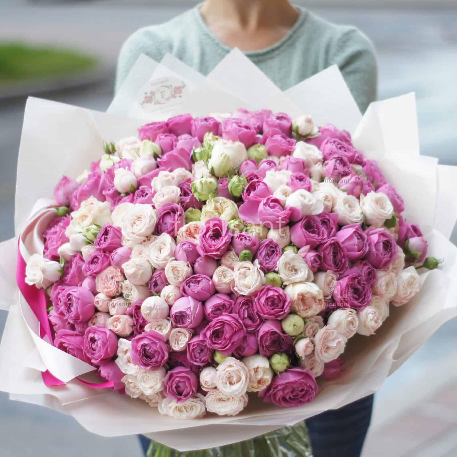 Букет из двух сортов кустовых пионовидных роз № 11-016 - Florisant